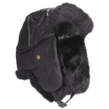 Mad Bomber® Euro Aviator Hat - Leather, Rabbit Fur, Insulated (For Men and Women) in Black W/Black Fur - Closeouts