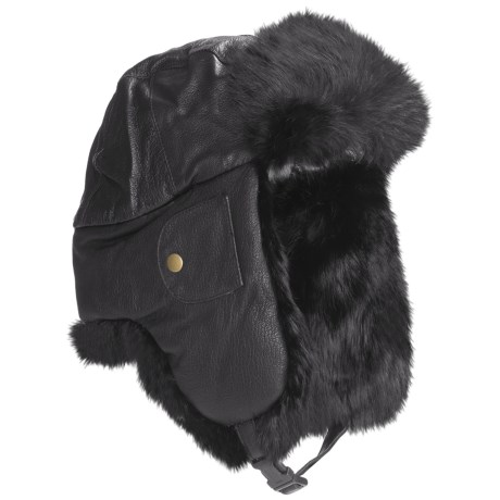 Mad Bomber® Euro Aviator Hat - Leather, Rabbit Fur, Insulated (For Men and Women) in Black W/Black Fur