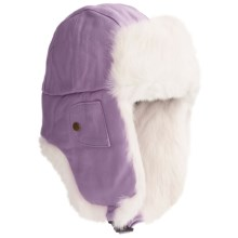 Mad Bomber® Euro Aviator Hat - Leather, Rabbit Fur, Insulated (For Men and Women) in Lavendor W/White Fur - Closeouts