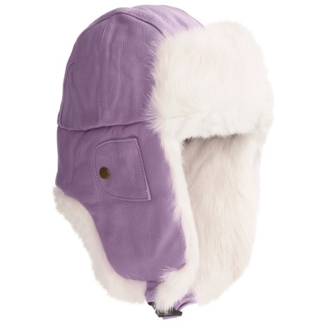 Mad Bomber® Euro Aviator Hat - Leather, Rabbit Fur, Insulated (For Men and Women) in Lavendor W/White Fur