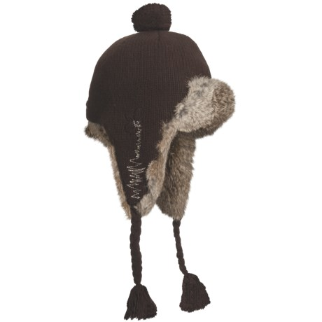 Mad Bomber® Girly Knit Aviator Hat (For Women) in Whisper W/Brown Fur