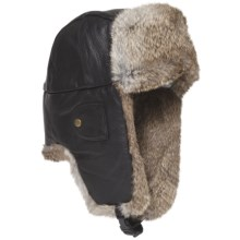Mad Bomber® Leather Aviator Hat - Rabbit Fur (For Men and Women) in Black W/Brown Fur - Closeouts