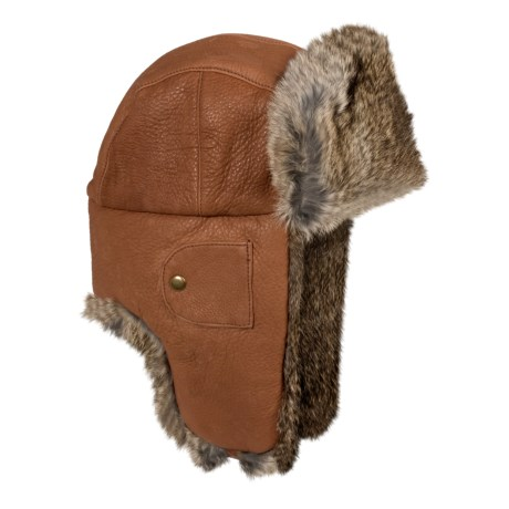 Mad Bomber® Leather Aviator Hat - Rabbit Fur (For Men and Women) in Hickory W/Brown Fur