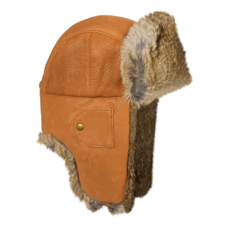 Mad Bomber® Leather Aviator Hat - Rabbit Fur (For Men and Women) in Saddletan W/Brown Fur