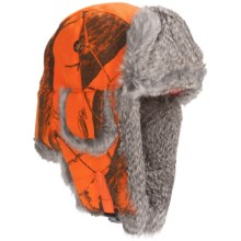 Mad Bomber® Lil' Camo Aviator Hat - Canvas, Fur Trim, Ear Flaps (For Kids) in Blaze Realtree W/Brown Fur - Closeouts