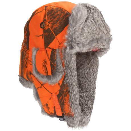 Mad Bomber® Lil' Camo Aviator Hat - Canvas, Fur Trim, Ear Flaps (For Kids) in Blaze Realtree W/Brown Fur
