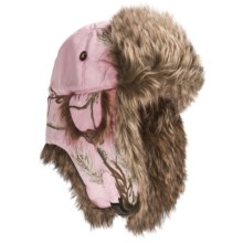 Mad Bomber® Lil' Camo Aviator Hat - Canvas, Fur Trim, Ear Flaps (For Kids) in Pink Realtree W/Brown Fur - Closeouts