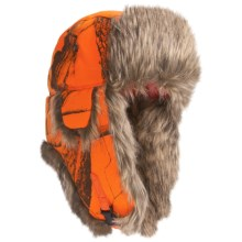 Mad Bomber® Lil' Camo Canvas Aviator Hat - Faux Fur (For Kids) in Blaze Realtree W/Brown Fur - Closeouts