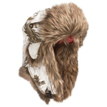 Mad Bomber® Lil' Camo Canvas Aviator Hat - Faux Fur (For Kids) in Snow Realtree W/Brown Fur - Closeouts
