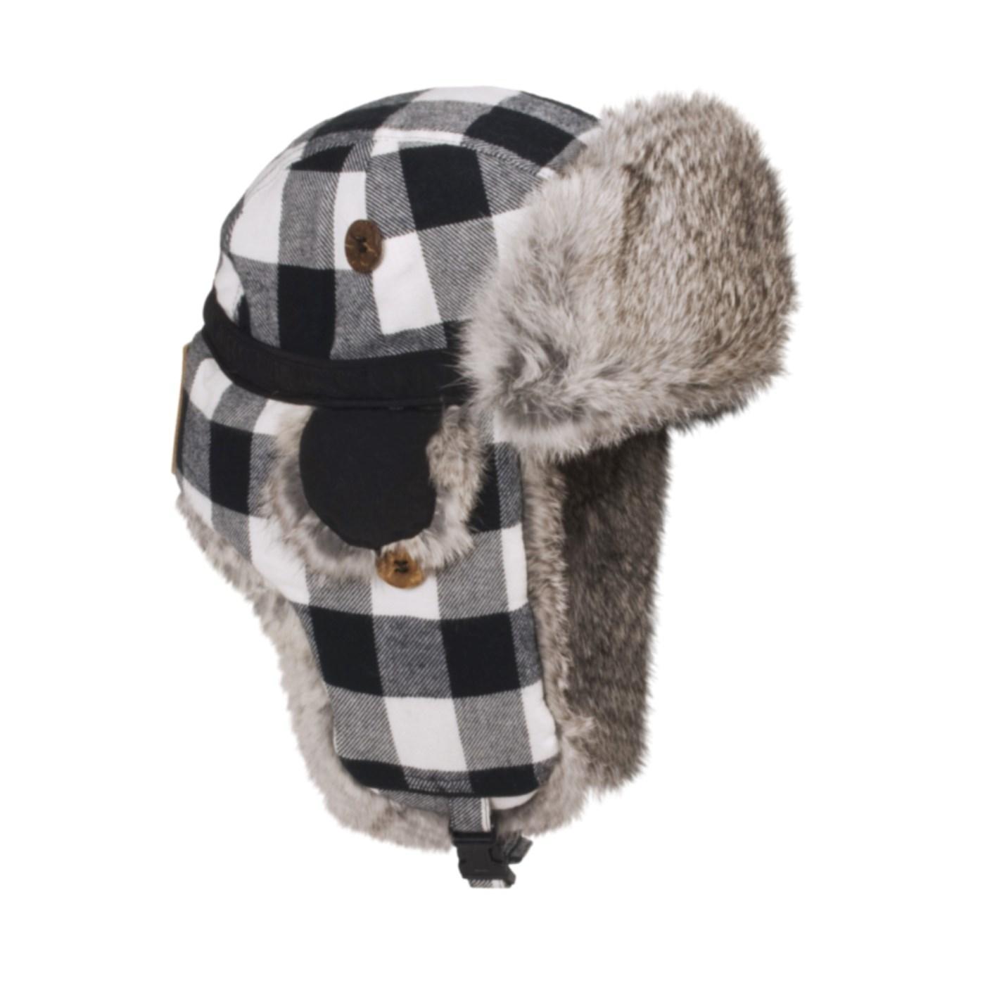 abc68ebaca6 Mad Bomber® Lil Flannel Aviator Hat Rabbit Fur (For Kids) in Black