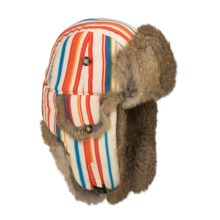 Mad Bomber® Printed Aviator Hat (For Men and Women) in Bright Stripe W/Brown Fur - Closeouts