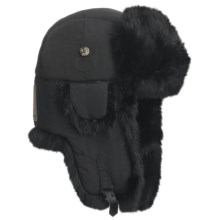 Mad Bomber® Quilted Supplex® Aviator Hat - Rabbit Fur, Recycled Materials (For Men and Women) in Black W/Black Fur - Closeouts