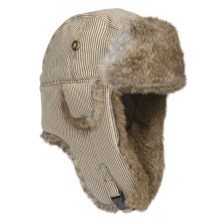 Mad Bomber® Railroad Stripe Aviator Hat (For Men and Women) in Tan W/Brown Fur - Closeouts