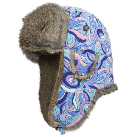 Mad Bomber® Sateen Aviator Hat - Rabbit Fur, Ear Flaps (For Men and Women) in Blue/Purple Print W/Brown Fur