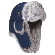 Mad Bomber® Supplex Aviator Hat (For Kids) in Navy W/Grey Fur - Closeouts