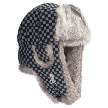 Mad Bomber® Supplex Embroidered Aviator Hat, Insulated (For Men and Women) in Check/White Skull W/Grey Fur - Closeouts