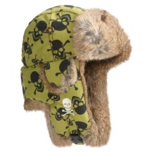 Mad Bomber® Supplex Embroidered Aviator Hat, Insulated (For Men and Women) in Green Print/Black Skull W/Brown Fur - Closeouts