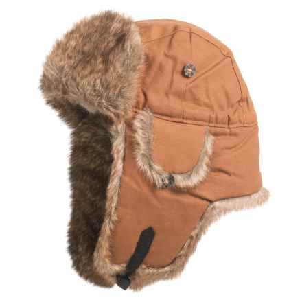 Mad Bomber® Supplex® Nylon Aviator Hat - Faux Fur, Insulated (For Men and Women) in Khaki Wax Cotton  W/ Brown Faux Fur - Closeouts