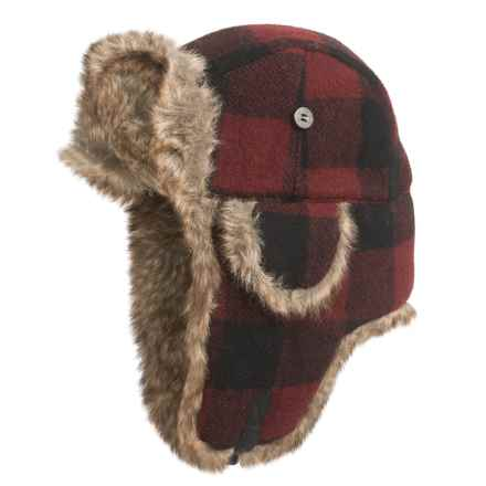 Mad Bomber® Supplex® Nylon Aviator Hat - Faux Fur, Insulated (For Men and Women) in Maroon Plaid Wool W/ Brown Faux Fur - Closeouts