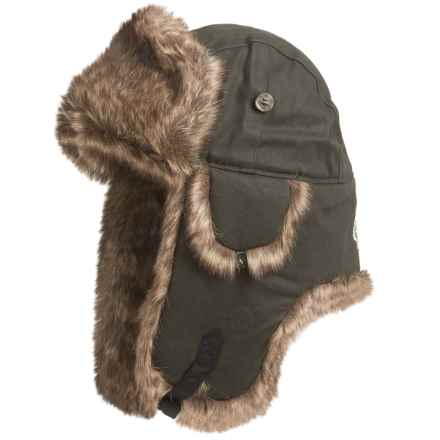 Mad Bomber® Supplex® Nylon Aviator Hat - Faux Fur, Insulated (For Men and Women) in Moss Green Wax Cotton  W/ Brown Faux Fur - Closeouts
