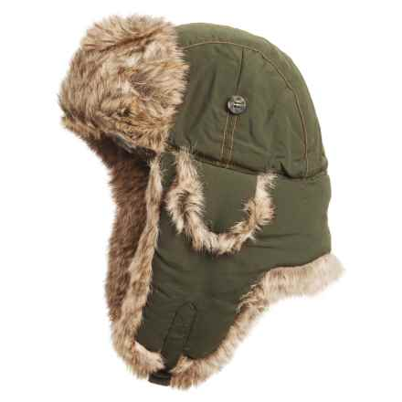 Mad Bomber® Supplex® Nylon Aviator Hat - Faux Fur, Insulated (For Men and Women) in Olive W/ Brown Faux Fur - Closeouts