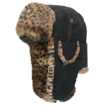 Mad Bomber® Supplex® Nylon Aviator Hat - Leopard Faux Fur, Ear Flaps (For Men and Women) in Black - Closeouts