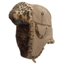 Mad Bomber® Supplex® Nylon Aviator Hat - Leopard Faux Fur, Ear Flaps (For Men and Women) in Khaki - Closeouts