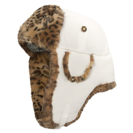 Mad Bomber® Supplex® Nylon Aviator Hat - Leopard Faux Fur, Ear Flaps (For Men and Women) in White