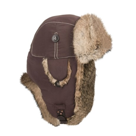 Mad Bomber® Supplex® Nylon Aviator Hat - Rabbit Fur, Insulated (For Men and Women) in Chocolate W/Brown Fur