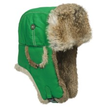 Mad Bomber® Supplex® Nylon Aviator Hat - Rabbit Fur, Insulated (For Men and Women) in Green W/Brown Fur - Closeouts