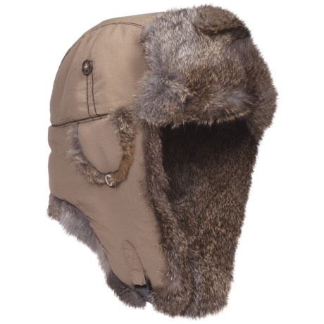 Mad Bomber® Supplex® Nylon Aviator Hat - Rabbit Fur, Insulated (For Men and Women) in Khaki W/Brown Fur