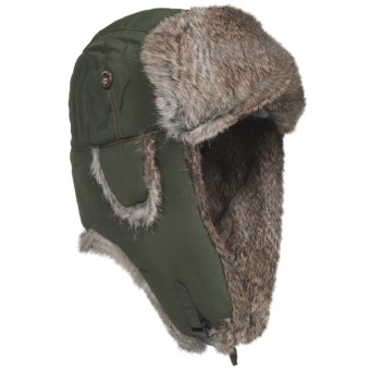 Mad Bomber® Supplex® Nylon Aviator Hat - Rabbit Fur, Insulated (For Men and Women) in Olive W/Brown Fur