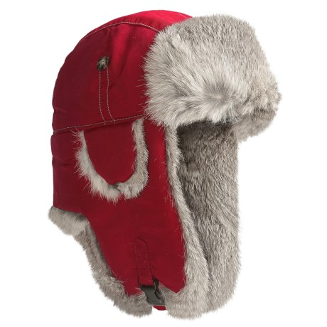 Mad Bomber® Supplex® Nylon Aviator Hat - Rabbit Fur, Insulated (For Men and Women) in Red W/Grey Fur