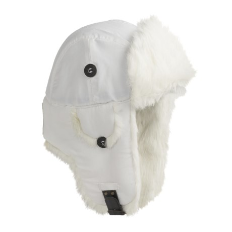 Mad Bomber® Supplex® Nylon Aviator Hat - Rabbit Fur, Insulated (For Men and Women) in White W/White Fur