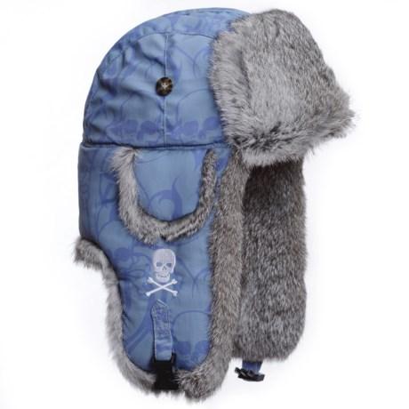 Mad Bomber SUPPLEX SKULL EMBROIDERED AVIATOR HAT W/RABBIT FUR (For Men and Women) in Blue Skull Print Blue