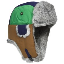 Mad Bomber® Team Color Block Aviator Hat - Rabbit Fur, Insulated (For Men and Women) in Green/Gold/Blue W/Grey Fur - Closeouts