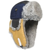 Mad Bomber® Team Color Block Aviator Hat - Rabbit Fur, Insulated (For Men and Women) in Navy/Gold/Black W/Grey Fur - Closeouts