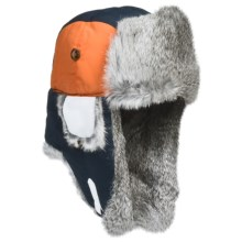 Mad Bomber® Team Color Block Aviator Hat - Rabbit Fur, Insulated (For Men and Women) in Navy/Orange/White - Closeouts
