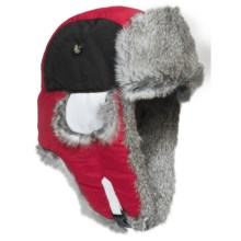 Mad Bomber® Team Color Block Aviator Hat - Rabbit Fur, Insulated (For Men and Women) in Red/Black/White W/Grey Fur - Closeouts