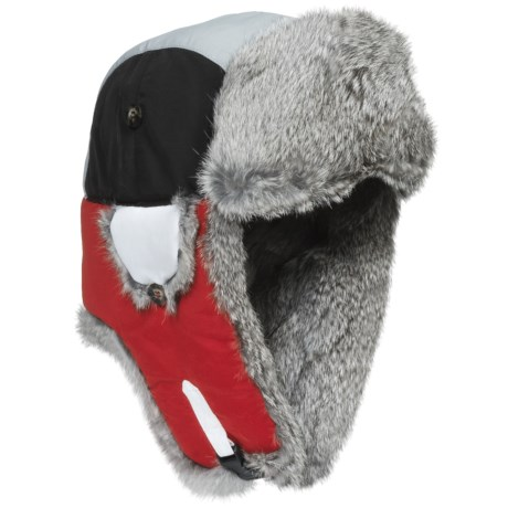 Mad Bomber® Team Color Block Aviator Hat - Rabbit Fur, Insulated (For Men and Women) in Red/Grey/White W/Grey Fur