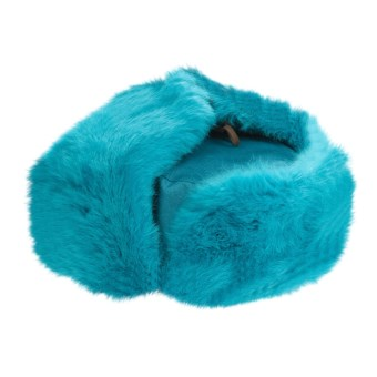 Mad Bomber® Trooper Aviator Hat - Canvas, Rabbit Fur (For Women) in Aqua W/Aqua Fur