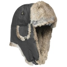 Mad Bomber® Waxed Cotton Aviator Hat - Rabbit Fur (For Men and Women) in Grey W/Brown Fur - Closeouts