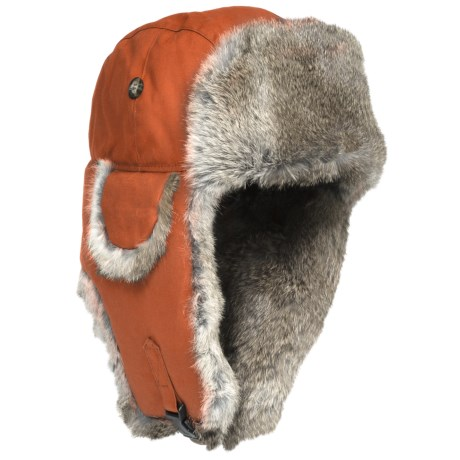 Mad Bomber® Waxed Cotton Aviator Hat - Rabbit Fur (For Men and Women) in Orange