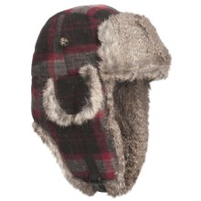 Mad Bomber® Wool Aviator Hat - Rabbit Fur, Insulated (For Men and Women) in Red/Grey W/Grey Fur - Closeouts