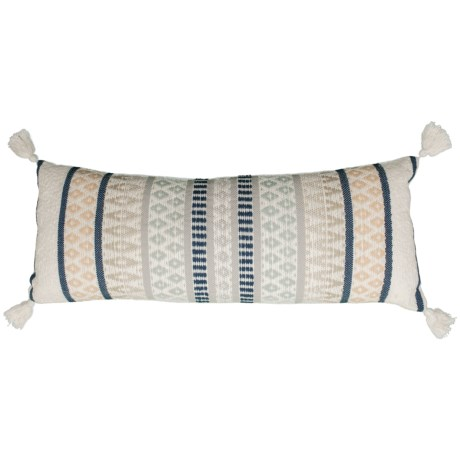 """Made in India 1436 Multi-Woven Throw Pillow with Tassels - 14x36"""" in Navy/Blush"""
