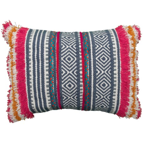 "Made in India Artistic Accent Multi-Woven Throw Pillow with 3D Shag - 18x24"" in Navy"