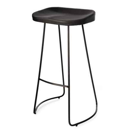 "Made in India Bar Stool with Metal Base - 18x16x29"" in Gray - Closeouts"