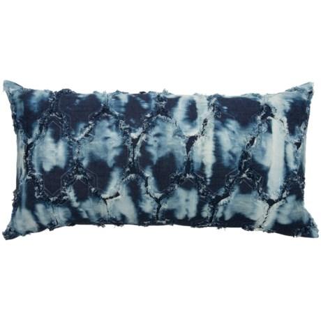 "Made in India Indigo Denim Frayed Applique Throw Pillow - 16x32"" in Indigo"