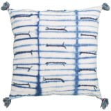"""Made in India Indigo Shibori 3D Embroidered Throw Pillow with Tassels - 22x22"""""""