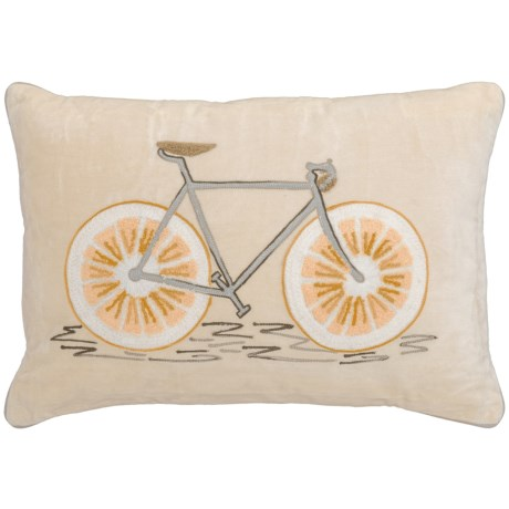 "Made in India Lemon Bicycle Throw Pillow - 14x20"" in White/Yellow"